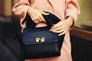 Black Leather Bag Handbag In Hand