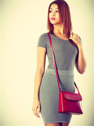 Girl Gray Wear With Red Handbag