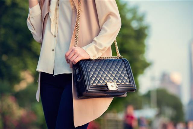 Woman Carrying Bag At City Park