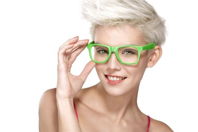 Model Wearing Cool Eyeglasses