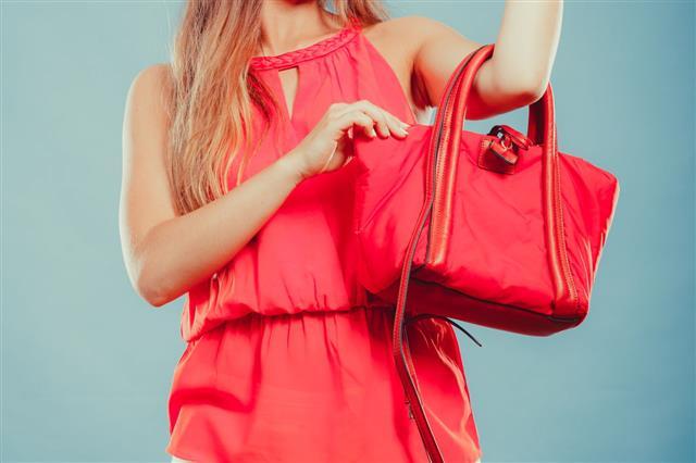 Fashion Woman With Red Handbag