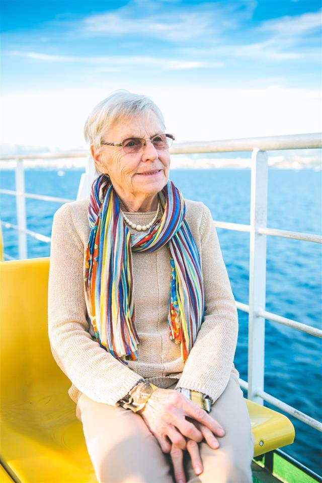 Senior Caucasian Woman On Ferry