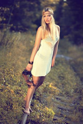 Blonde Girl An Rails