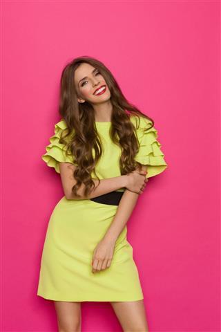 Beautiful Girl In Lime Green Dress
