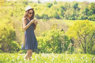 Woman Wearing Dotted Dress