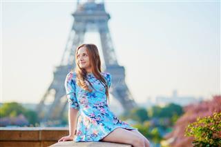 Woman In Blue Dress In Paris