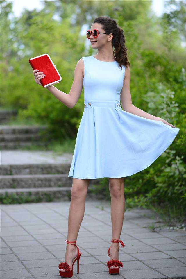 Woman Wearing Blue Summer Dress