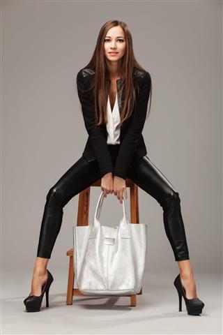 Elegant Woman With A Fashion Bag
