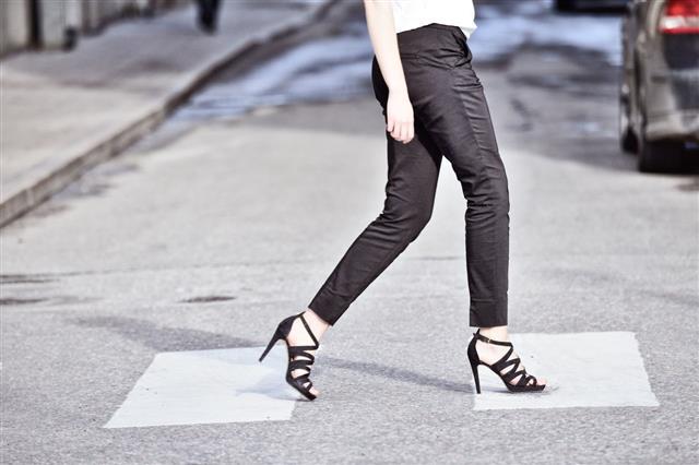 Woman On Street Zebra Crossing