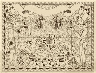 Aztec Map With Gods