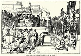 Nero Burning Of Christians At Rome