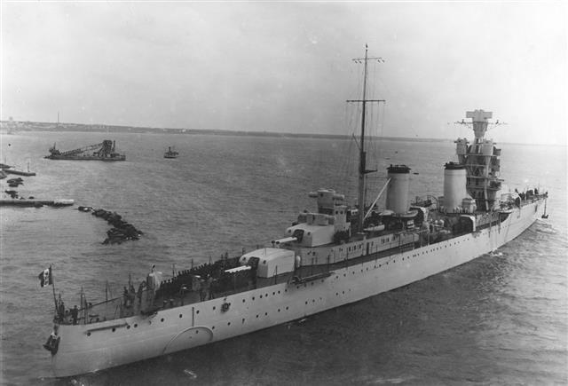 Italian Warship Leaving The Harbor